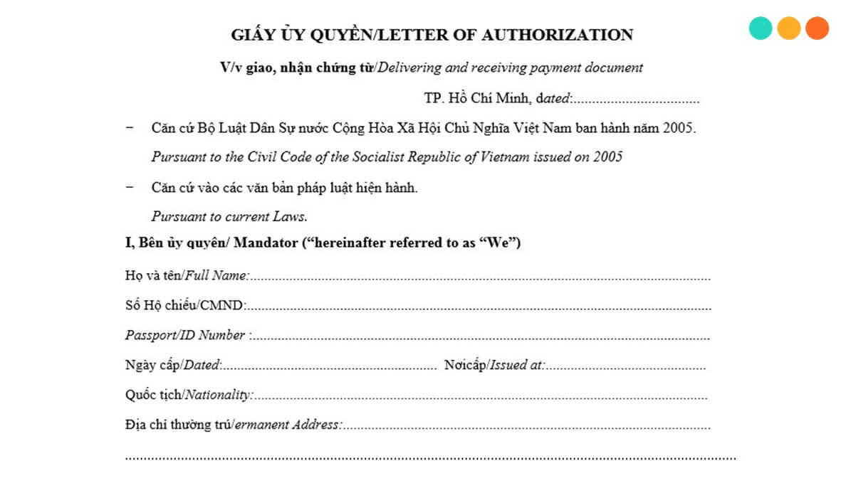 mẫu giấy ủy quyền tiếng anh song ngữ (power of attorney) - step up english